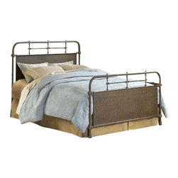 Hillsdale Furniture - Hillsdale Kensington Metal Bed in Old Rust - King - The Kensington Bed has traditional design with a hint of turn of the century French style. The classic silhouette is enhanced by the solid center panels which are graced by detailed castings. The Kensington is a wonderful addition to any bedroom.