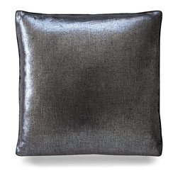 "Metallic Velvet Pillow - Black/Silver - 20"" - Shimmering and glistening metallic black is so versatile it can be used in almost any styling when coupled with the proper furniture and accessories. The Metallic Velvet fabric is soft and luxe to the touch and invites a quick nap on the couch even if the pillows are almost too pretty to be put to a use other than a decorative purpose."