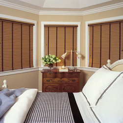 "M&B 2"" Composite Faux Wood Blinds - Composite faux wood blinds are a fashionable, yet economical alternative to wood blinds. Their durable material won't scratch, chip, or fade and as such they're great for high moisture areas including kitchens, bathrooms, saunas and are excellent choice for humid climates. Best of all, they're easy-to-clean and maintain."
