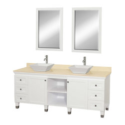 "Wyndham - Premiere 72"" Double Bathroom Vanity Set - White - A bridge between traditional and modern design, and part of the Wyndham Collection Designer Series by Christopher Grubb, the Premiere Single Vanity is at home in almost every bathroom decor, blending the simple lines of modern design like vessel sinks and brushed chrome hardware with transitional elements like shaker doors, resulting in a timeless piece of bathroom furniture.; White Finish; Constructed of solid, environmentally friendly, low emissions wood, engineered to prevent warping and last a lifetime; Solid marble counter - Ivory; Soft-close drawer glides; Soft-close doors; Square White Porcelain Sink; Includes matching mirror; Pre-drilled for single hole faucet, but can be drilled on-site for three hole faucets; Dimensions: Vanity 72 x 22-1/2 x 36 (including sink); Mirror 24-1/4 x 36-1/4"