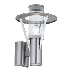 Eglo - Belfast - Outdoor wall Light by Eglo in stainless steal and clear glass. UL rated for a wet location (IP44).