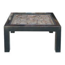 Golden Lotus - Rectangular Black Lacquer Heavy Thick Concrete Art Coffee Table - This elegant coffee table is constructed with a heavy and beautiful concrete art from an old house wall. Two lambs standing on cliff watching moon with Lu-Yi growing on tree. It is not only a great coffee tabled for decoration, but it also a lucky item for house Feng Shui because of lucky symbol on the art