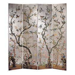 "Inviting Home - Folding Screen with Silver-Leaf Background - decorative folding screen with hand painted birds flowers and blossoming trees on a silver leaf background overall - 72""W x 78""H each panel - 18""W Stunning hand-crafted four-panel folding wood screen features elegant flowers blossoming trees and cheerful birds on a silver-plated background. Weaving blooming trees running from one screen's panel to the next creating a cohesive design. Two intertwining trees painted on each panel of the folding screen. The first tree is a strong and mature with flourishing blossoms and fruits; the second tree is light and young with fruits or blossoms. This combination of trees represents the interaction between generations. Because the fruits and their blossoms appear in clusters it is traditionally symbolic of a large but tightly knit family. Mature trees are painted on the folding screen with animated expressive bases showing deep highly sculptural old roots symbolizing wisdom and traditions. Beautiful birds of different kind vividly pained on the decorative screen. Each bird has an incomparable coloration unique voice and distinct spirits. Vigorous birds enlivening design of the decorative screen with cheerful energy. Unique design of this decorative screen makes it easy to incorporate it in any traditional as well as contemporary decorative scheme. The background of the folding screen is created by application of silver metal leaf. The back of the screen is solid black."