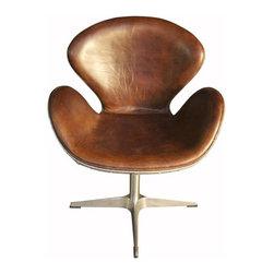 NOIR - NOIR Furniture - Leather Chair Half Aluminum - LEA03B - Features: