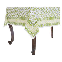 Origin Crafts - Bamboo palm green tablecloth - Bamboo Palm Green Tablecloth 100% Cotton, block printed. Machine wash, tumble dry low, warm iron as needed. Made in India. Dimensions (in): Square - 55x55 - Seats 2?4 Rectangle - 60x90 - Seats 4?6 Rectangle - 60x120 - Seats 8?10 By Pomegranate Inc. - Pomegranate's vivid prints and wonderfully