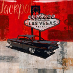 Z Gallerie - High Roller - Glass Coat - Done in the morning with a cup of coffee, a cigarette and a Chevy in mind, this vintage giclee by artist Clayton Rabo takes the viewer on a high rolling spree to Vegas where fortune awaits those brave enough to try their luck.High Roller features a high resolution image printed directly onto the canvaswith an epoxy, glass coat finish. The epoxy, resin based finish that is applied to the image is a multi-step process that is hand poured and renders a durable and protective polished glass coated finish. This creates a greater level of depth and dimension to the piece. The finish also serves a sealer, which is moisture resistant, protects for warping or sagging, and ensures the lasting original beauty of the artwork. Special Orders  You will have 3 days from the transaction date to change or cancel your special order purchase. Special orders cannot be returned or exchange.