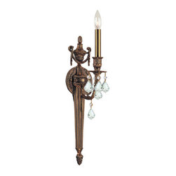 Crystorama Lighting Group - Crystorama Lighting Group 751-MB Arlington 1 Light Candle Style Wall Sconce - Single Light Ornate Cast Wall Sconce with Clear Hand Cut CrystalCrystorama chandeliers are of traditional designs and use authentic molds and patterns to maintain the tradition of our forefathers. In a world of mass production, Crystorama Lighting Group continues to offer traditional chandeliers that require years of experience and specialized craftsmanship. Features: