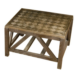 BoBo's Intriguing Objects - Oven Side Table, Low - With so many people into salvage style these days, it can be tough finding something truly unique. Well, look no further than this table — reclaimed cast iron kiln plates set into a wooden base make an incredibly cool statement in your favorite setting.