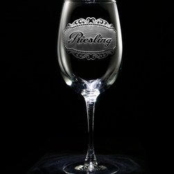 """Crystal Imagery, Inc. - Riesling Wine Glass, Engraved Wine Glass Set of 2 - Our engraved Riesling Wine Glass set of 2, is a unique gift for the wine lover or wine connoisseur. Our in house designers have created this beautiful design in which our master carvers will carve out the background panel, leaving the lettering and design raised from the wine glass in a three dimensional manner. If Riesling wine isn't your favorite, be sure to check our shop for many other specific wine type glasses from which you can choose, or buy a set of the entire collection of eight! At 9"""" high by 3.5"""" wide, our wine glasses hold 19 oz. A set of these etched wine glasses will be the favorite gift at any special gift giving occasion. Dishwasher safe."""