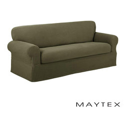 Maytex - Reeves Textured 2-piece Loveseat Slipcover - This patented stretchable two-piece slipcover has a separate seat cushion cover with elastic corners to offer a semi-custom fit. This slipcover features a slightly raised small rectangle design.