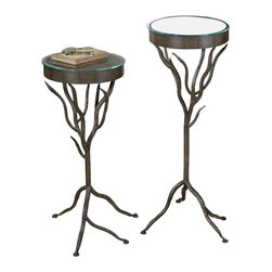 Uttermost - Uttermost Esher Plant Stands Set/2 - Esher Plant Stands Set/2 by Uttermost Bronze Metal, Hand Forged Into Delicately Designed Twigs, Situated Under Clear, Tempered Glass Presenting Character With Functionality. Sizes:Sm-14x28x15, Lg-16x34x15
