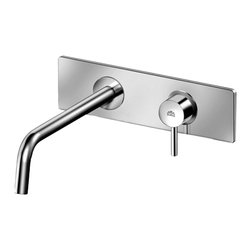 Modo Bath - Stick SK 103 Single Lever Wall Mounted Bathroom Faucet with Long Spout - Stick SK 101 Concealed Single Lever Wall Mounted Bathroom Faucet, with Wall Spout, Aerator and Rectangular Plate
