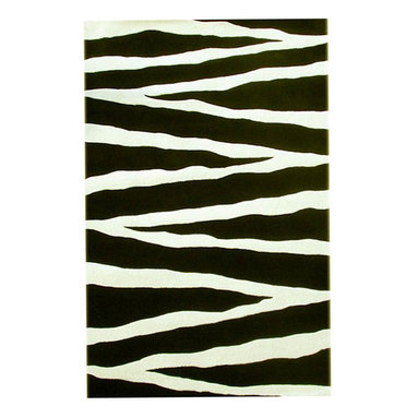 None - Hand-tufted Zebra Print Wool Rug (8' x 10'6) - Update your home decor with a contemporary wool rugFloor rug is hand-tufted from 100-percent wool pileArea rug features a striking black and white zebra stripe design
