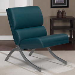 None - Rialto Teal Bonded Leather Upholstery Chair - The Rialto chair,with its contemporary design,is sure to add modern flair to your home decor. This sleek chair highlights a soft,leather upholstery in a teal color and a brushed steel finish on the legs.