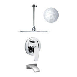 Remer - Sleek Chrome Tub and Rain Shower Faucet - Modern shower system designed by Remer in Italy with included tub spout, round showerhead, ceiling mounted shower arm, and 2-way diverter.