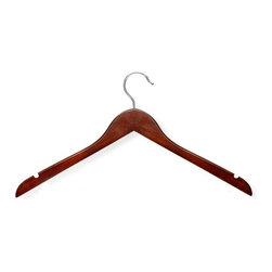 Honey Can Do - Basic Shirt Hanger in Cherry Finish - Pack of - Streamlined shape. Keeps clothing looking freshly-pressed. Cherry varnish. Prevents splintering. Limited lifetime warranty. 17.5 in. L x 0.45 in. W x 9 in. H (1.21 lbs.)Honey-Can-Do HNG-01213 5-Pack Wooden Top Hanger, Cherry. Beautiful, wooden clothes hanger is contoured to keep shirts, dresses, and jackets perfectly wrinkle-free. Features a 360 degree swivel rod hook to hang items easily on any closet rod, towel bar, or standard size door. A gorgeous, yet economical upgrade to any closet.