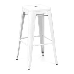 Design Lab MN - Amalfi Stackable Glossy White Steel Barstool Set of 4 - The amalfi steel stackable barstool is a fantastic designed barstool to add to any restaurant, bistro or coffee house. This barstool is produced in rolled steel which can withstand any high traffic area. It also can be stacked to save space if needed. Produced by Design Lab MN, this product is manufacturer to highest standards in the furniture industry.