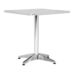 Zuo Modern - Zuo Modern Christabel Outdoor Square Dining Table X-006007 - Sitting on a busy street corner, drinking a cup of coffee, updating the daily blog, while having a meal, the Christabel series is the perfect table to fit any cafe setting. This all aluminum table is MDF wrapped. The base sits on adjustable feet to contour to level. This series comes with everything as well as an adjustable a fix, ranging from table height to bar height. The Christabel is perfect for any setting.