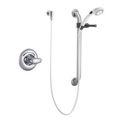 """Delta Faucet Company - Delta T13H152 Shower Valve Trim with Metal Lever Handle and Personal Hand Shower - Delta T13H152 Shower Valve Trim with Metal Lever Handle and Personal Hand Shower with 24"""" Combination Grab/Slide Bar, Less Showerhead, Single Handle, Chrome"""