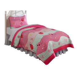 Pem America - Garden Waves  Twin Quilt with Pillow Sham - Fun pink ladybugs brighten up any bedroom and this quilt will bring that fresh feeling of spring and summer into your room. Includes 1 twin quilt measuring 68x86 inches. 1 standard sham measuring 20x26 inches. 100% microfiber face and reverse.  94% cotton fill. Machine washable.