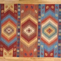 "Kilim Qasqagi - Multicolored Hand Woven 8'3"" X 10'3"" 100% Wool Flat Weave Anatolian Kilim Area Rug."