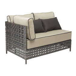Grandin Road - Summerland Key Left Corner Chaise - Outdoor seating collection comprised of Right Corner Chaise, Left Corner Chaise, Middle Chair and Coffee Table, each sold separately. Pieces can be arranged in various configurations to suit your seating needs. Brown aluminum frames with airy openwork construction. Includes weather-resistant beige cushions with brown piping. Coffee Table comes features a tempered glass top. Design an indulgent outdoor oasis with our Summerland Key Outdoor Sectional Collection. Two chaises and a middle chair can be arranged any way you like. Piped cushions are included, as well as contrasting toss pillows, allowing you to create restful seating that's fit for a king.  .  .  .  .  . Imported .