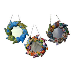 """Mirrors Decorated - """"Zeta"""" Handcrafted Papier-mache, Mirror Ornaments - Set of 3 - American made with a World View. Handcrafted papier-mâché, mirror ornaments creatively collaged. This selection includes 3 ornaments designed with: 1) An attractive, multicolored International Map, 2) World Stamps, from a bonanza of topical and pictorial stamps. Effort insures no two stamps are used on one piece and 3) """"Patchwork"""", a vivid mosaic of mix and match colored paper: plain and patterned.  The papier-mâché is made of discarded newspaper. An artist signature label is adhered to the back of each mirror. Also, the hanging hook and mirror are secured to the frames with the papier-mâché. Glass mirrors."""