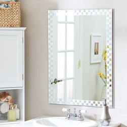 Decor Wonderland - Frameless Checkmate Wall Mirror - 23.5W x 31.5H in. - SSM48 - Shop for Bathroom Mirrors from Hayneedle.com! The Frameless Checkmate Wall Mirror has an interesting contemporary style perfect for the living room or dining room. This wonderful rectangular mirror adds a whimsical element to any wall. Constructed of metal and strong 3/16 glass this mirror features an etched checkerboard border created with a fine precise manufacturing process. Mounting hardware is included with the mirror. Weighs 14 pounds.