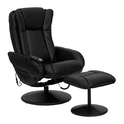 Flash Furniture - Massaging Black Leather Recliner and Ottoman with Leather Wrapped Base - Enjoy a relaxing massage in the comfort of your own home or office with this recliner and ottoman set. This set offers maximum massaging power that kneads your back, lumbar area, thighs and legs. Whatever your preferred intensity the five pre-programmed settings are sure to suit your needs. Look no further for your perfect massage chair offered at an incredible price!