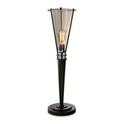 Uttermost - Frisco Black Metal Accent Lamp - Rustic black metal accented with a plated cognac tinted glass hurricane. 40 watt antiqued style bulb included.