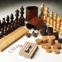 Butler - Game Pieces - Complete set of game pieces including carved Wood chess set, checkers, cribbage set and deck of cards
