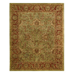 Nourison - Nourison Jaipur JA50 (Olive) Rug - The Nourison Jaipur collection features a distinctive assortment of traditional designs, handmade from the finest 100% premium quality wool. Nourison's own unique herbal-wash process creates the elegant look of a priceless antique. With their lavish pile and the silk-like sheen of their lanolin-rich wool, Jaipur Collection rugs will bring a dramatic fashion accent to any room setting.