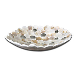 Capiz Shell Accented Bowl - Capiz Shell Accented With Concave Mirrors And A Matte White Exterior.
