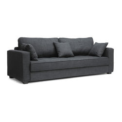 """Wholesale Interiors - Keeney Dark Gray Linen Modern Sofa Bed - We love a sofa bed that doesn't look like one, keeping its clever secret on the down-low. Enter the Keeney Designer Sofa Bed. A simple, straightforward design, this Chinese-made marvel features a seat that slides forward and a backrest that flips down to create one large, flat surface for comfortable slumber when space is tight. A wooden frame, foam cushioning, and dark gray linen upholstery are featured. Also included are black plastic legs with non-marking feet, three matching throw pillows, and removable back cushions. Assembly is required and spot cleaning is recommended. This design is also available in beige linen (sold separately). Sofa Dimension: 86.25"""" x 37""""D x 33""""H. Seat Dimension: 74.5""""W x 19""""D x 16""""H. Bed Dimension: 74.5""""W x 54""""D x 16""""H. Arm height: 23""""."""