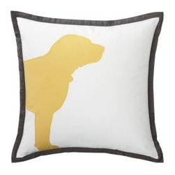 Serena & Lily - Curry Buddy Pillow Cover - In honor of everyone's best friend, the bold silhouette of a dog's head is appliqued onto 100% cotton canvas with sateen stitching.