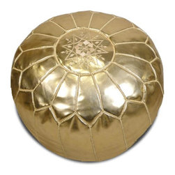Moroccan Pouf, Metallic Gold - This metallic poof will certainly make a statement in your living room. I love how unabashedly shiny it is.