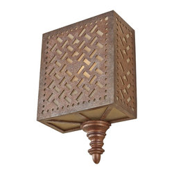 Murray Feiss - Murray Feiss WB1609MOB Kandira 1 Light Wall Sconce - Inspired by the beautiful hand woven rugs of the Middle East, the Kandira lighting collection is named after the Turkish city. Its ancient screen-like pattern is laser cut into the Moroccan Bronze finished steel panels of each light fixture, complemented with an oversized, turned spindle as a bottom finial to complete the look.