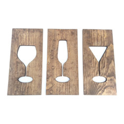 Timber Art Signs - Cocktail Drinks Kitchen Art Wooden Plaques Wine Glass Wall Decor Housewares Art - Wine glass and cocktail glass kitchen wall art carved in to three solid wooden plaques. Stained in a Kona brown to reveal the beauty of wood figure and grain. Modern minimalist style a great addition to any kitchen.