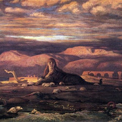 """Elihu Vedder The Sphinx of the Seashore - 16"""" x 24"""" Premium Archival Print - 16"""" x 24"""" Elihu Vedder The Sphinx of the Seashore premium archival print reproduced to meet museum quality standards. Our museum quality archival prints are produced using high-precision print technology for a more accurate reproduction printed on high quality, heavyweight matte presentation paper with fade-resistant, archival inks. Our progressive business model allows us to offer works of art to you at the best wholesale pricing, significantly less than art gallery prices, affordable to all. This line of artwork is produced with extra white border space (if you choose to have it framed, for your framer to work with to frame properly or utilize a larger mat and/or frame).  We present a comprehensive collection of exceptional art reproductions byElihu Vedder."""