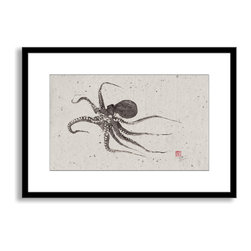 Gallery Direct - Dwight Hwang's 'Flying Octopus' Framed Paper Art, 30x21 - A nod to the traditional Japanese art of gyotaku, meant as a way to record a proud catch for fishermen, this print captures delicate detail of the actual fish. This striking print comes framed and matted with a three inch white mat. The perfect way to add character, depth and value to your room, it is printed using the highest quality materials. Arrives ready to hang.