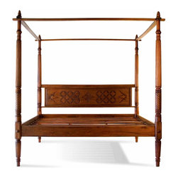 Tansu / Lotus - Lotus Canopy Bed, California King - Hand carved from solid mahogany, the Balinese Lotus canopy bed is a perfect example of the skilled workmanship that we expect from quality Asian furniture. Made in Indonesia from mortise and tenon joinery this bed is built not only to impress but also to last. Plus since it is made from plantation wood, you're promoting a more sustainable world. For use with either a box spring or just a mattress by itself you'll love our Balinese Lotus four post canopy bed. Available in Full, Queen, CA King and Standard King sizes.