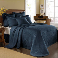 Historic Charleston Collection - King Charles Matelasse Provincial Blue King Bedspread-Only - - Steeped in Historic Charleston?s rich, classic style and decorative arts culture, the King Charles 100% cotton matelass� bedding collection offers a unique blend of European, Caribbean, and Asian influences.   - King Charles matelass� bedding offers a luxuriously soft bedspread, coverlet, bed skirt, shams and decorative accent pillows featuring classic 19th century motifs representing the sun, a topiary, a pheasant, and a pineapple.   - The superior design of the King Charles matelass� bedding ensemble can be traced back to England circa 1820, incorporating key influences from that time period including the fine arts and superior craftsmanship.   - Each piece is crafted individually on special weaving looms to create the luxurious design that defines this lovely matelass� bedding collection.   - Highs and lows created during the jacquard weaving process allow the intricate designs and motifs to come to life.   - Designs from the archives of Historic Charleston?s heritage, were interpreted to create the lovely King Charles bedding set.   - Rolling arches, half-moons, double diamonds and scrolling vine details wrap around the classic topiary, pheasant, sun and pineapple motifs.   - Coverlet and bedspread drape beautifully over the bed to reveal rounded corners.   - Pair the bedspread or coverlet with bed skirt to create a complete look.   - Add coordinating, decorative shams and pillows to create the ultimate bedroom oasis.   - The heavy-weight, stonewashed matelass� of King Charles bedding ensures life-long durability and style for generations to come.   - King bedspread measures 114W x 120L.   - Crafted in Portugal.   - Stone-washed.   - 100% cotton matelass�.   - The Historic Charleston Foundation was established in 1947 and is a nonprofit organization whose mission is to preserve and protect the historical, architectural and material culture that make up Charleston?s rich and irreplaceable heritage.   - King bedspread only, all other coordinating items sold separately.   - Please note photo may not represent actual size being ordered.   - No decorative objects included. Historic Charleston Collection - 11182KINGBDPOB
