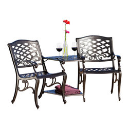 Great Deal Furniture - Prague Outdoor Cast Aluminum 2-Seater Set - The Prague 2-seater set is a beautiful and unique addition for your outdoor decor. Made from cast aluminum, this set is made up of two elegant chairs conveniently attached to a center table. The features include intricate details on the chair and table, and an umbrella opening on the table. The antique bronze finish is neutral to match any outdoor furniture and will hold up in any weather condition. Whether in your backyard, patio or deck, you'll enjoy this piece for years to come.