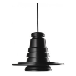 """Diesel - Diesel Tool Pendant Lamp - The Tool Pendant lamp has been designed by Diesel in 2010 and made in Italy by Foscarini.  This lamp has been designed with a single rubber body, its form reminiscent of a foundry mould or a piece of engineering straight from the lathe.  Tool lights up the rough vintage environment of factories and workshops, with shapes and materials derived from the pull of technology in its raw state.  Transmitted is the impression of an object fresh off the assembly line and destined for a home environment unafraid to break with design and aesthetic conventions.  Product Details: The Tool Pendant lamp has been designed by Diesel in 2010 and made in Italy by Foscarini.  This lamp has been designed with a single rubber body, its form reminiscent of a foundry mould or a piece of engineering straight from the lathe.  Tool lights up the rough vintage environment of factories and workshops, with shapes and materials derived from the pull of technology in its raw state.  Transmitted is the impression of an object fresh off the assembly line and destined for a home environment unafraid to break with design and aesthetic conventions. Details:                                     Manufacturer:                                      Diesel by Foscarini                                                     Designer:                                     Foscarini                                                     Made in:                                     Italy                                                     Dimensions:                                      Grande: H: 11 1/2"""" ( 29 cm) X D: 14 1/2"""" (13 cm) max H: 200"""" (508 cm)             Piccola: H: 4 1/4"""" ( 11 cm) X D: 5 1/16"""" (37 cm) max H: 200"""" (508 cm)                                                                                                                             Light bulb:                                      Grande: 1 X 40W G9 type T4 Bi-pin Halogen             Piccola: 1 X 20W GU10 type """