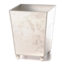 Wastebasket Plain - Silver Edging - The Moroccan Detail Tray in Driftwood is a desirable piece with an exquisite satin faux bois grain covering its surface.  Paler rustic tones fill out a gorgeous large-scale design inspired by the intricate stonework and embroidery of traditional Morocco.  Whether you're looking for a serving tray large enough to hold a wide selection of choice dishes or a display piece for a transitional setting, the Moroccan Detail Tray is a superb choice.