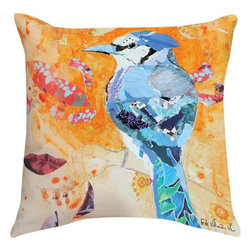 """Manual - Pair of """"Blue Jay Day"""" Watercolor Print Indoor / Outdoor Throw Pillows - This pair of 18 inch by 18 inch woven throw pillows adds a wonderful accent to your home or patio. The pillows have (No Suggestions) weatherproof exteriors, that resist both moisture and fading. The pillows feature the same watercolor Blue Jay bird print on both front and back. They have 100% polyester stuffing. These pillows are crafted with pride in the Blue Ridge Mountains of North Carolina, and add a quality accent to your home. Original artwork by Fabrice de Villeneuve. They make great gifts for bird lovers."""