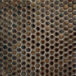 Supah Fish Tiles - Glazed Hexagons Deep Bronze Mini Hexagon Mosaic - Step into a room that reminds you of classic french cafes, when you put down these mini hexagon mosaics.