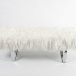 Tibetan Lamb Bench, Natural - How fun is this lambswool bench with a sleek chrome base? It would look amazing at the foot of a bed.