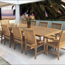 "Fifthroom - 96"" Teak Rectangular Expansion Table and Compass Chair Set -"