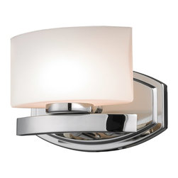 Z-Lite - Z-Lite Galati Bathroom Light X-V1-4103 - This single vanity light, finished in chrome and square matte opal glass, brings a contemporary feel.